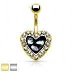 Navel, Gold or Silver  Heart Strass